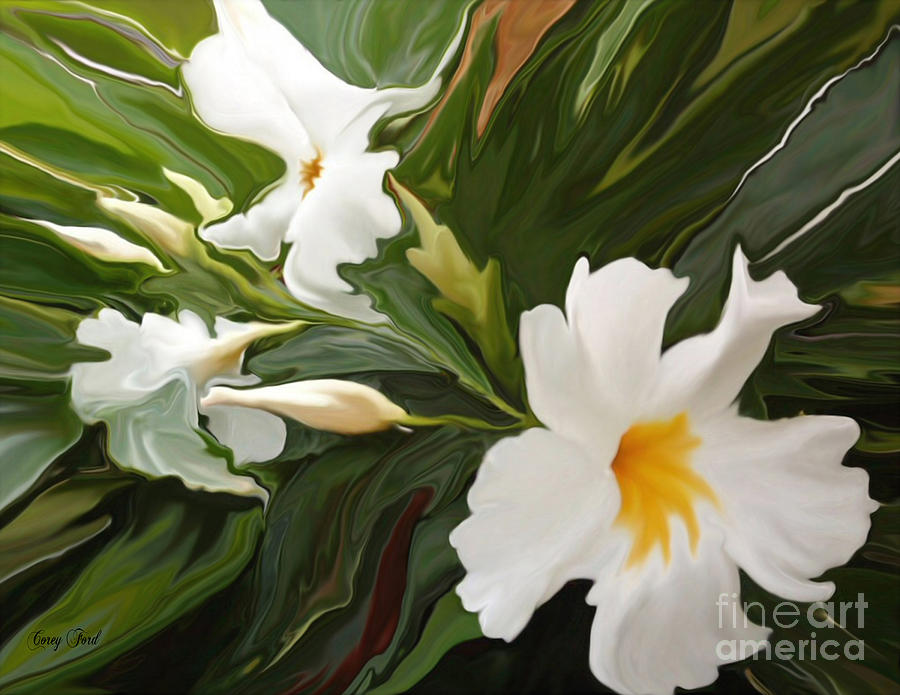 Abstract Painting - White Jasmine by Corey Ford
