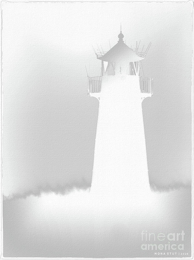 Lighthouse White Silhouetted Digital Art