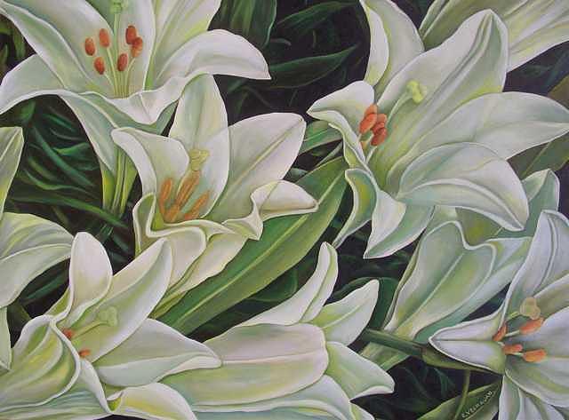 White Lilies Painting by Ekapon Poungpava