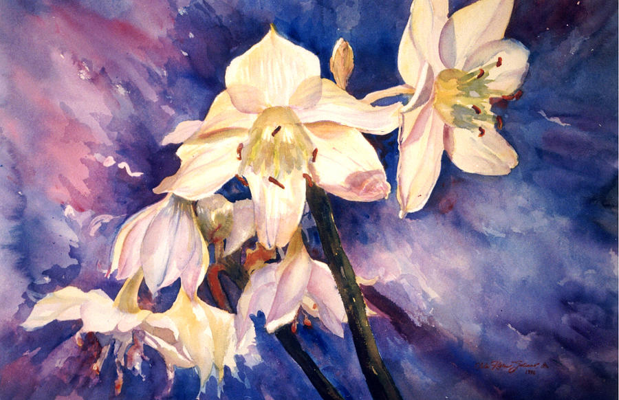 Watercolor Painting - White Lillies by Estela Robles
