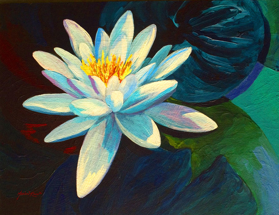 Water Lily Painting - White Lily III by Marion Rose