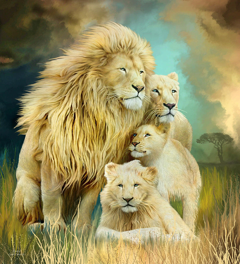 White Lion Family - Unity by Carol Cavalaris