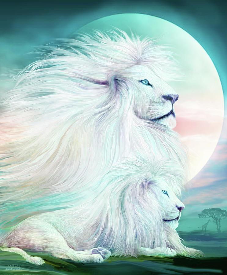 White Lion Spirit King Mixed Media By Carol Cavalaris