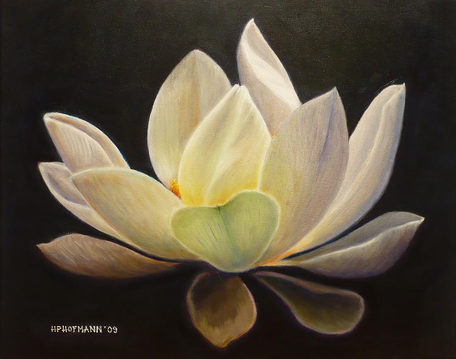 Lotus painting by hugo palomares white lotus painting by hugo palomares mightylinksfo Images