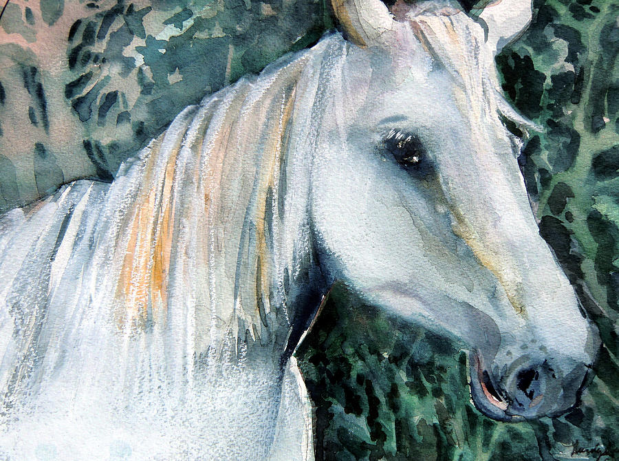 Horse Painting - White Magic by Mindy Newman
