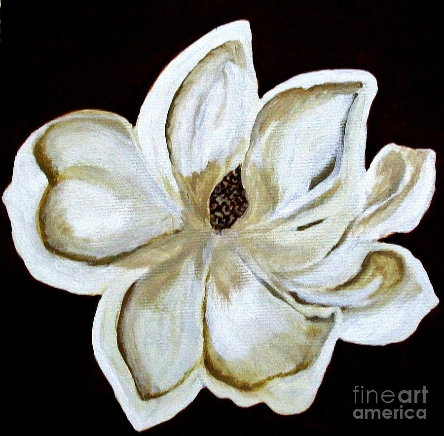 Painting Painting - White Magnolia On Black by Marsha Heiken