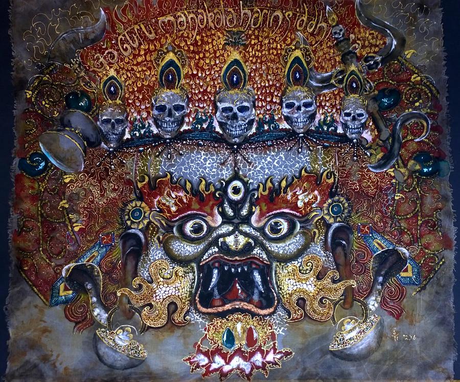 Mahakala Painting - White Mahakala  by Silk Alchemy