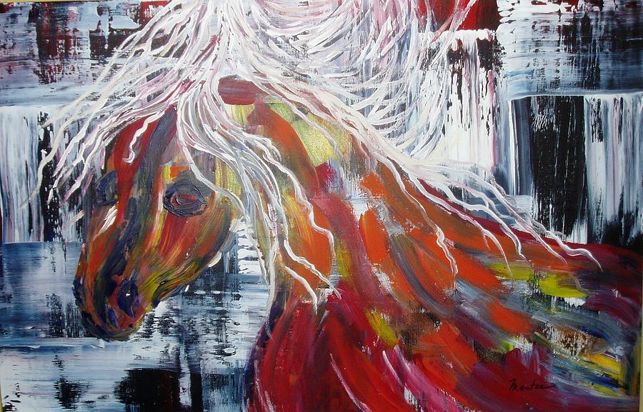 Horse Painting - White Mane by Maritza Bermudez
