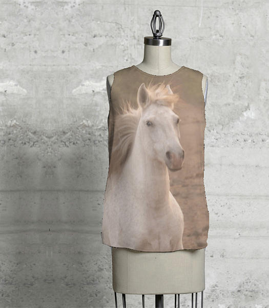 White Mare Approaches Sleeveless Top by Heather Kirk