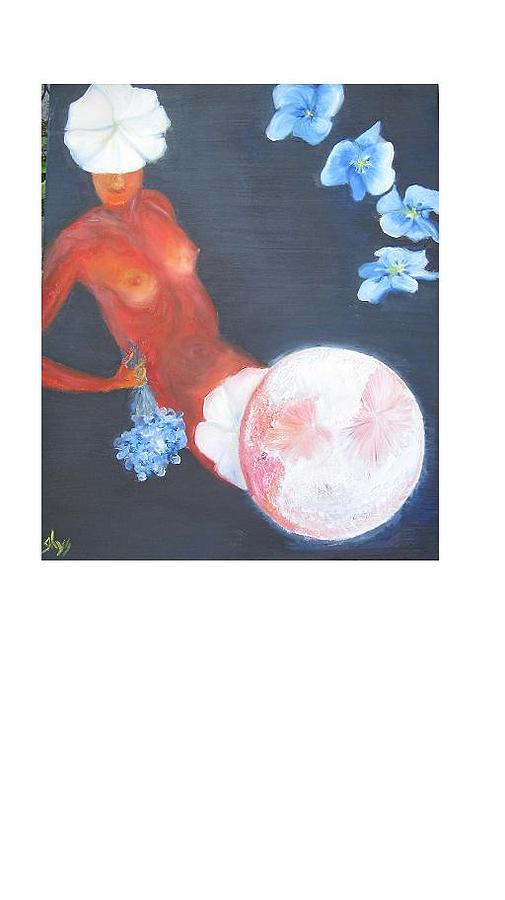Moon Painting - White Moonflower by Dirk Ghys