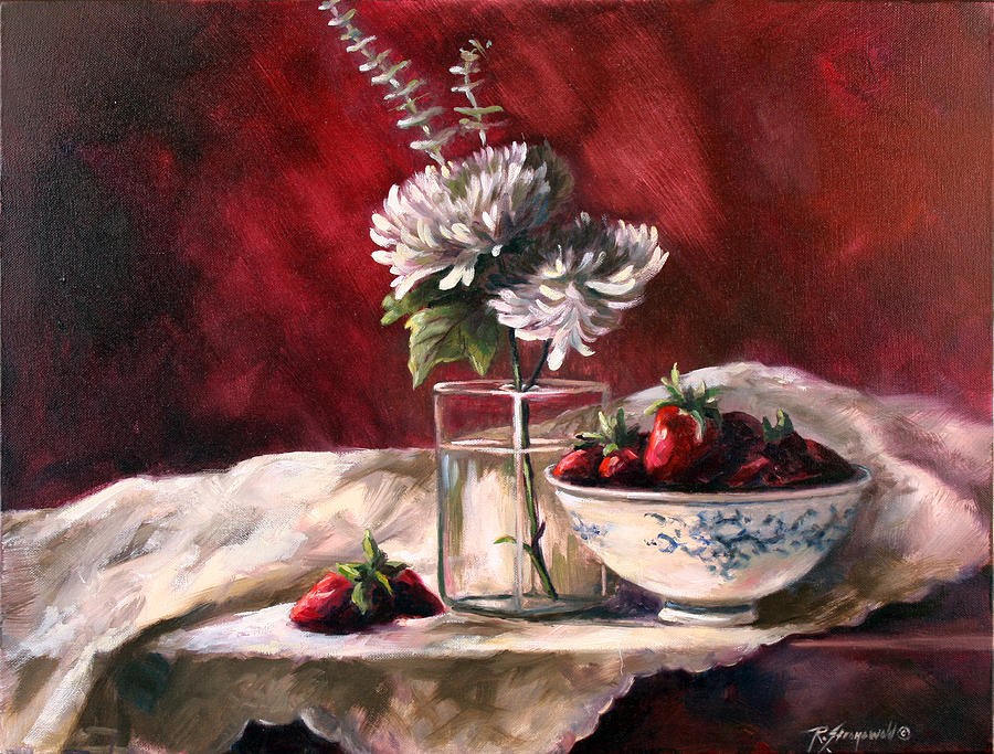 Strawberries Painting - White Mums by Ruth Stromswold