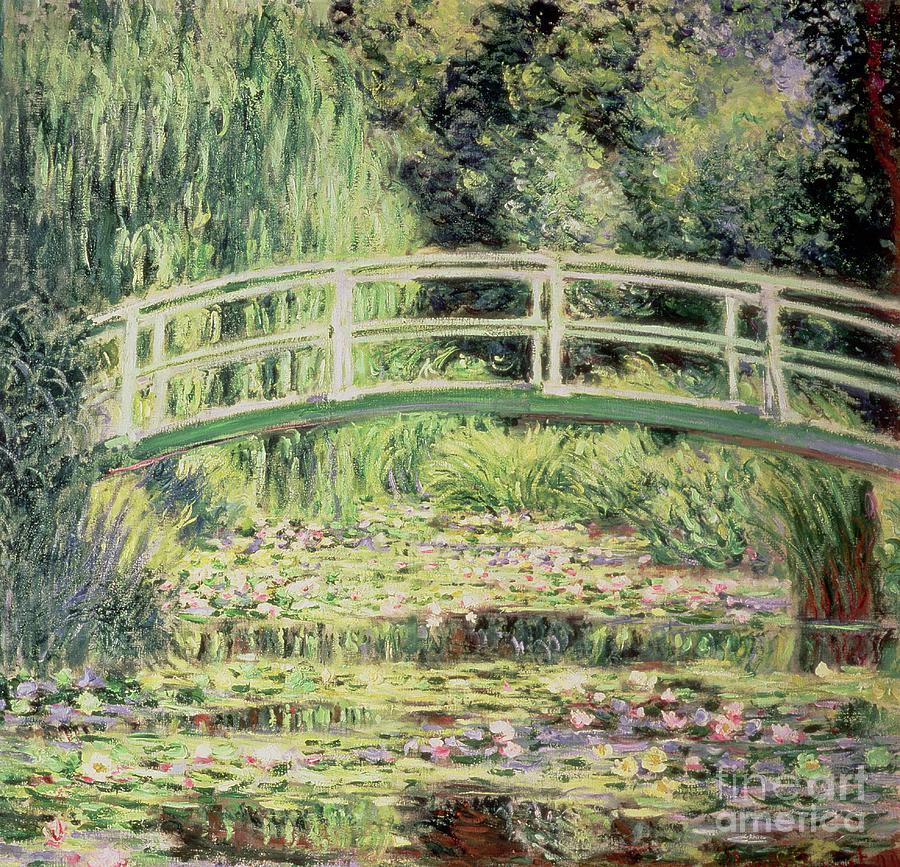 Bridge Painting - White Nenuphars by Claude Monet