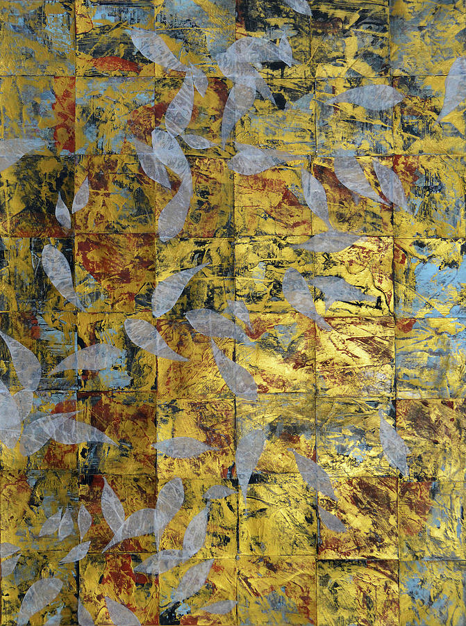 Abstract Painting - White On Gold by Adam Laughlin