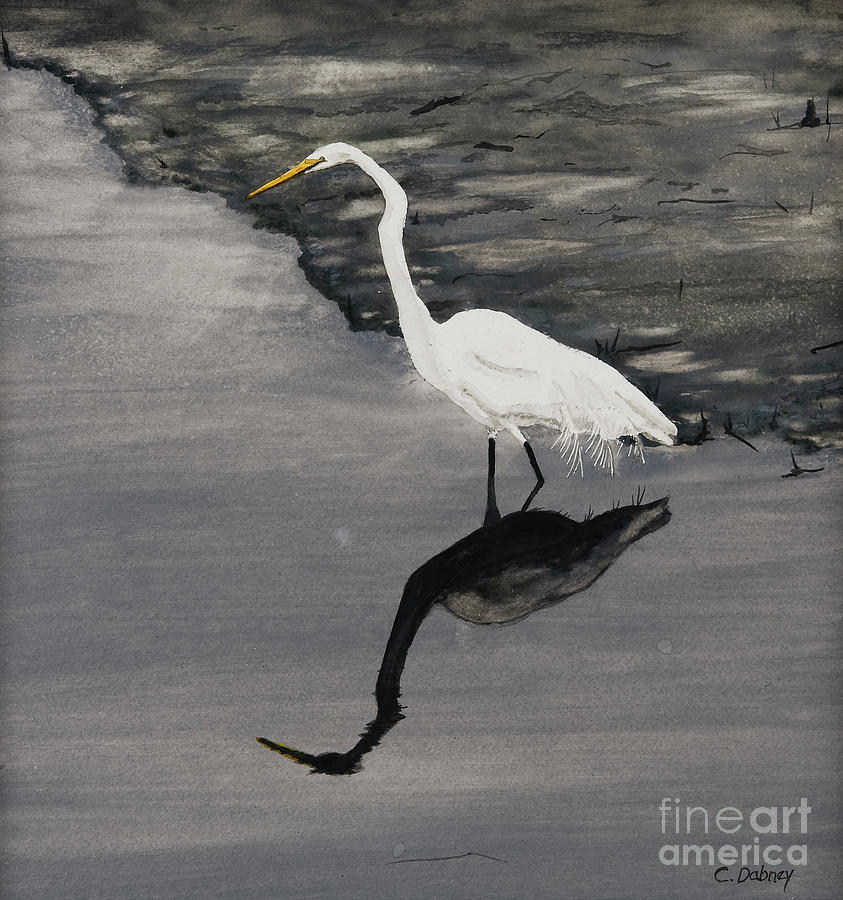 Bird Painting - White On Gray by Carla Dabney