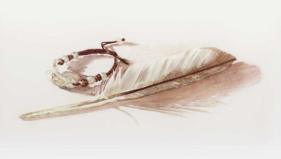 Feather Painting - White On White by Brandy Woods