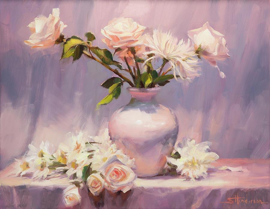 Flower Painting - White on White by Steve Henderson