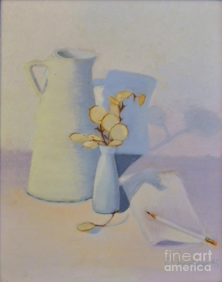 Still Life Painting - White On White Still Life by Emily Michaud