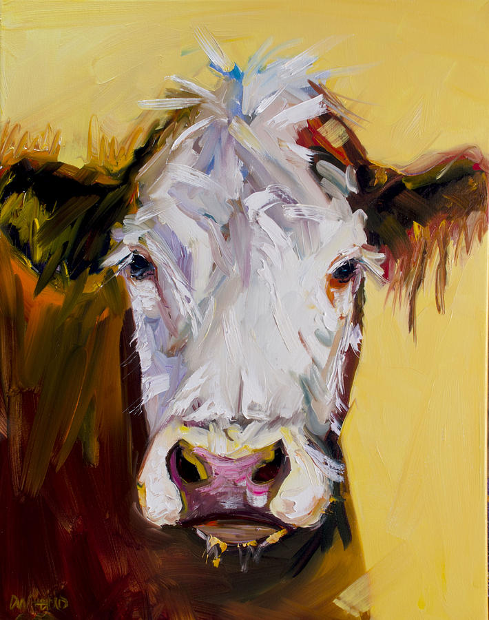 Cow Painting - White One by Diane Whitehead