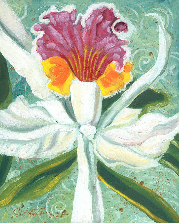 Orchids Painting - White Orchid by John Keaton