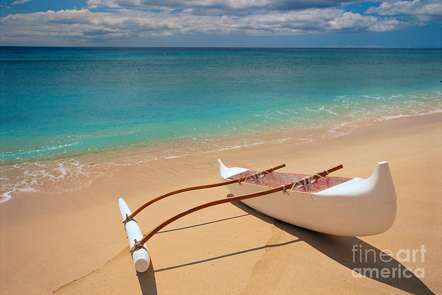 Afternoon Photograph - White Outrigger Canoe by Dana Edmunds - Printscapes