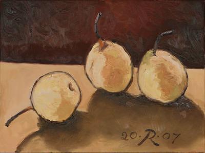 White Pears Painting by Raimonda Jatkeviciute-Kasparaviciene