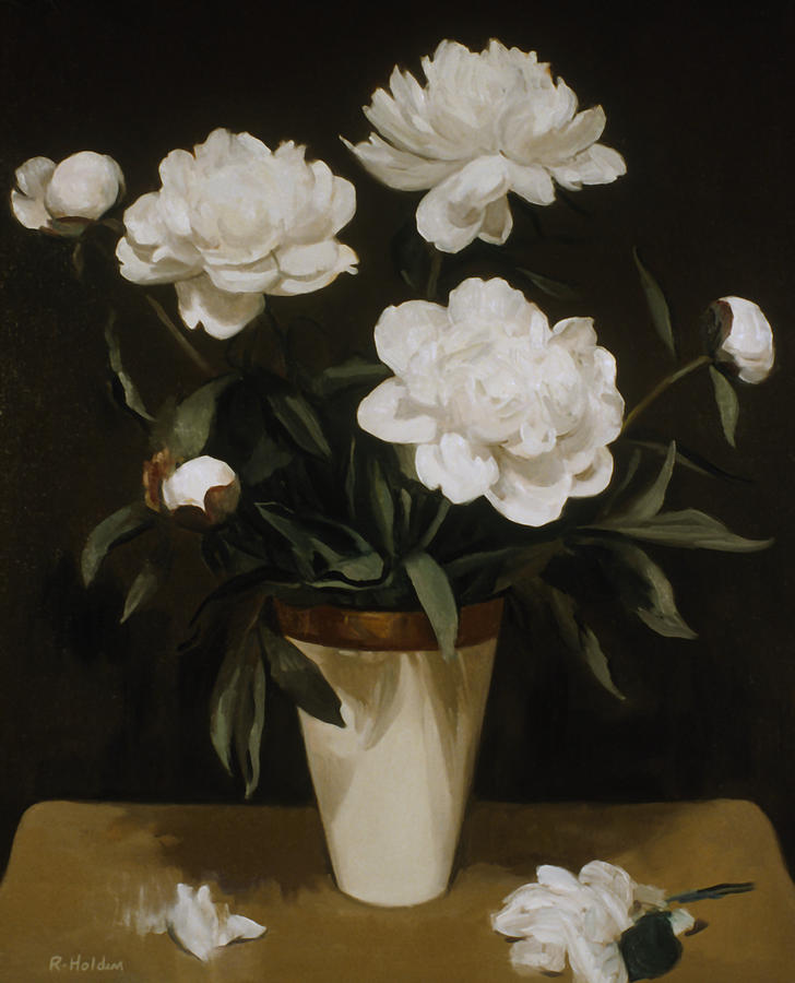 White Peonies In Cone Shaped Vase Painting By Robert Holden