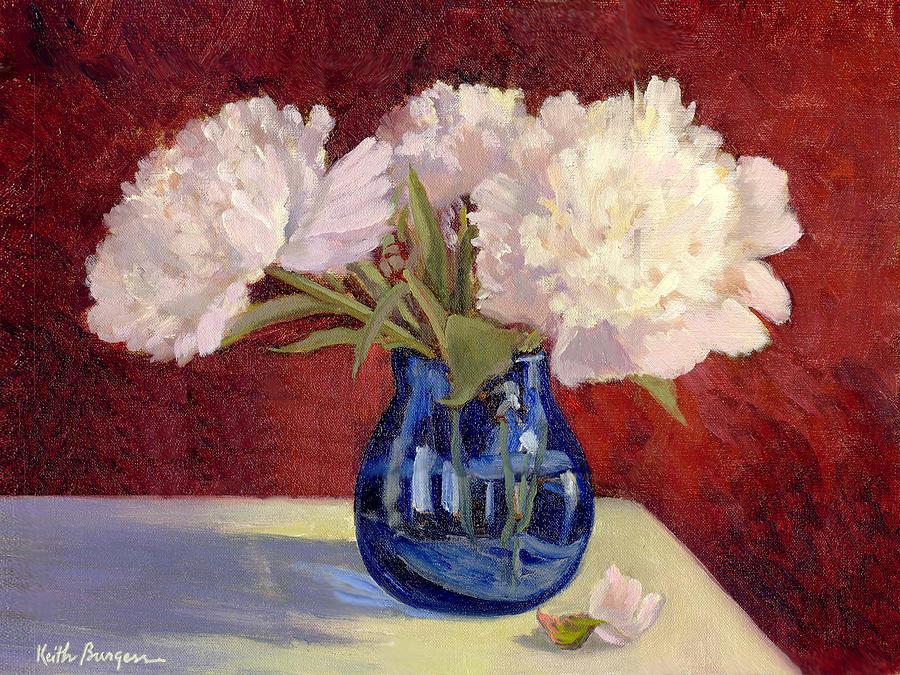 Peonies Painting - White Peonies by Keith Burgess