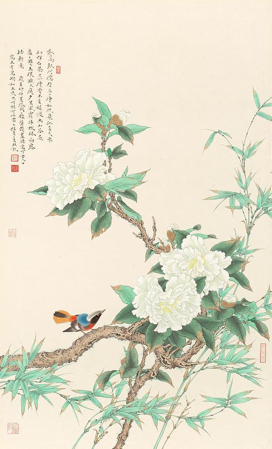 White Peony Bird Painting. Chinese name. Asian Art
