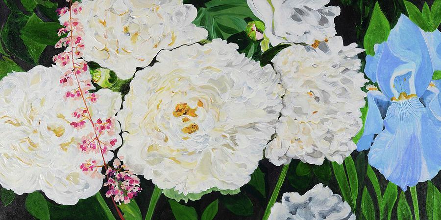 Peonies Painting - White Peony Garden by Pamela Trueblood