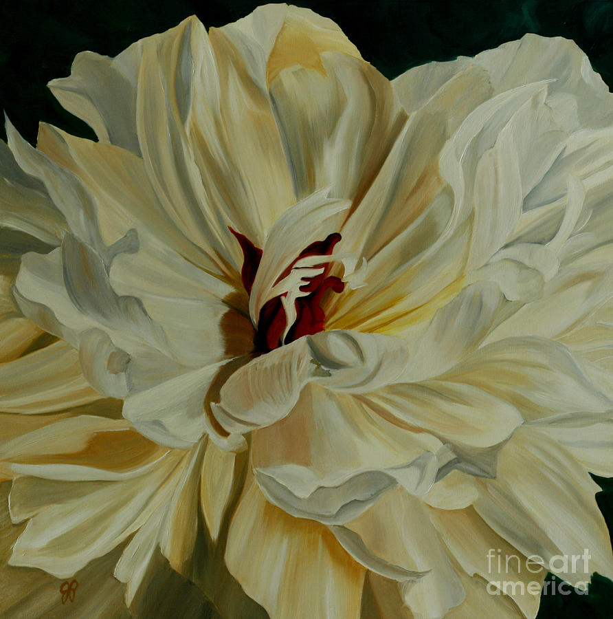 White Flower Painting - White Peony by Julie Pflanzer