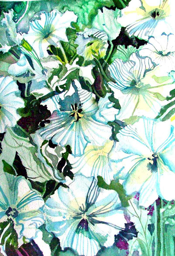 Petunias Painting - White Petunias by Mindy Newman