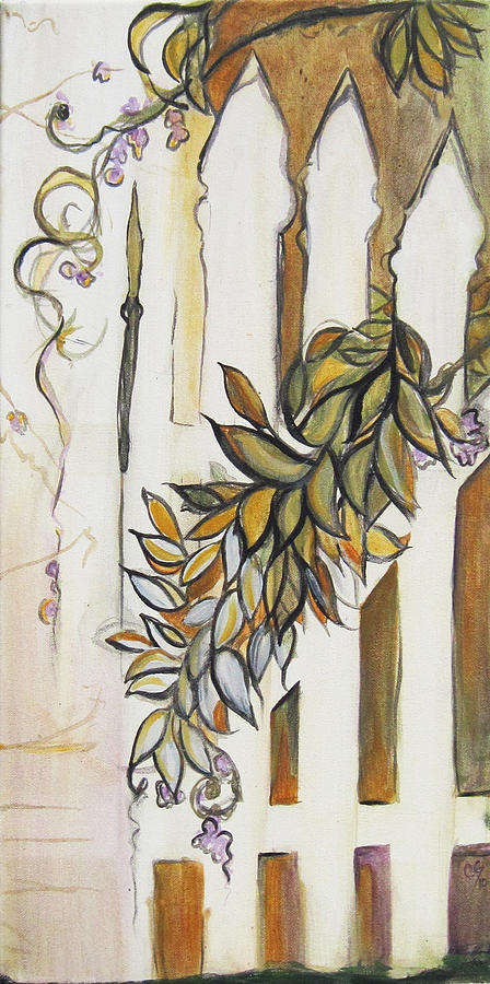 Fence Painting - White Pickett Fence by Carrie Jackson