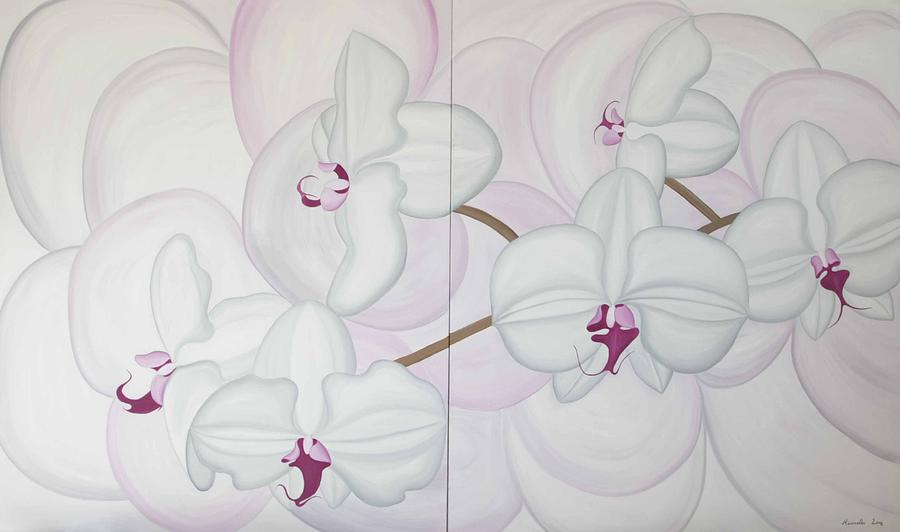 Flower Painting - White Pink Orchide by Marinella Owens