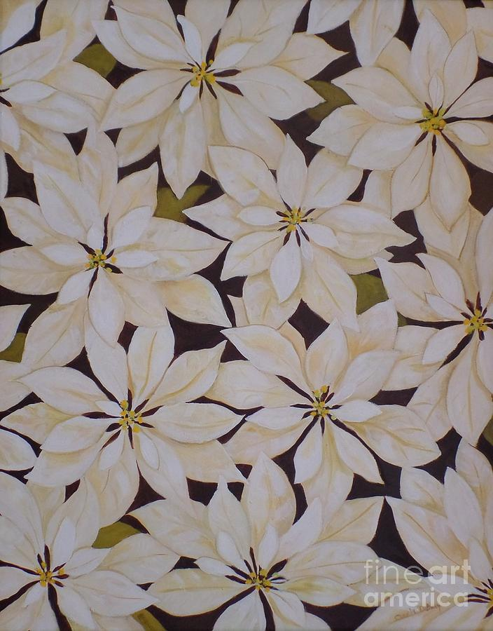 White Painting - white Poinsettias by Carla Dabney