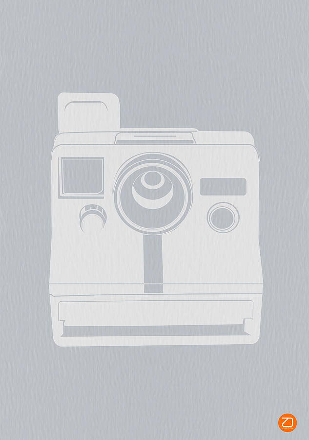 Polaroid Photograph - White Polaroid Camera by Naxart Studio