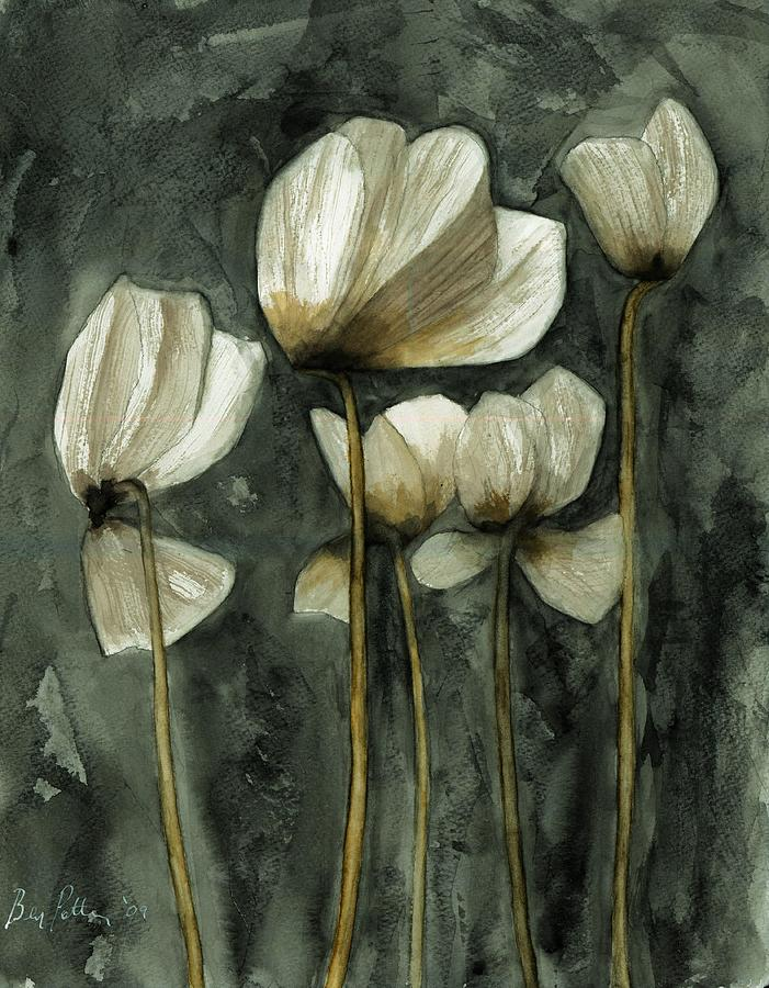 Flowers Painting - White Poppies by Ben Potter