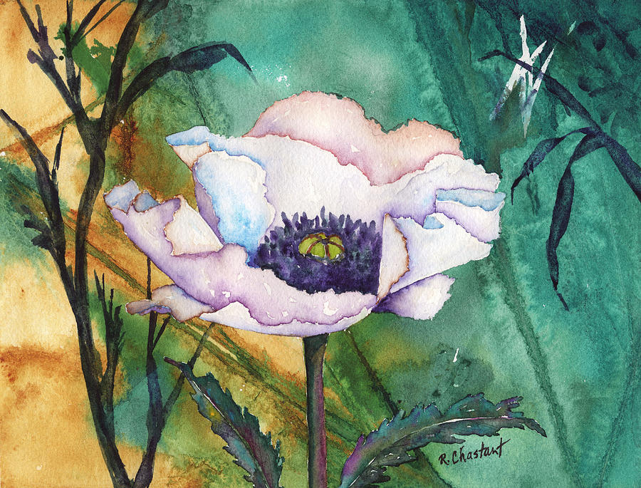 Poppy Painting - White Poppy On Teal by Renee Chastant