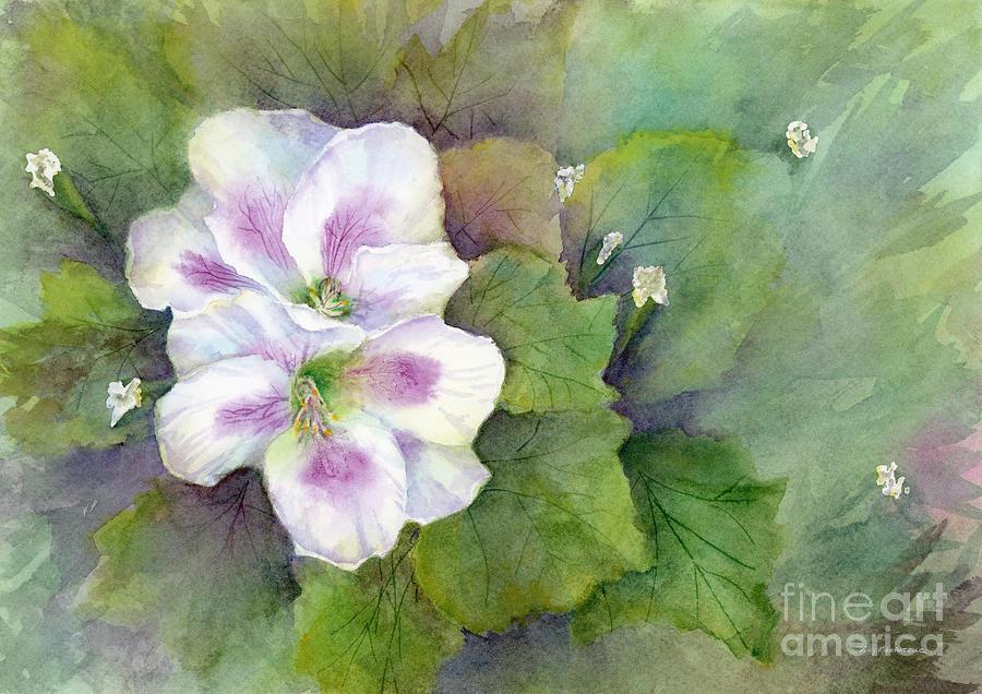 White Purple Flowers Painting