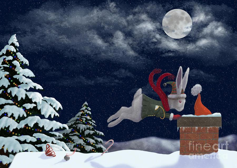 Alice Digital Art - White Rabbit Christmas by Audra Lemke