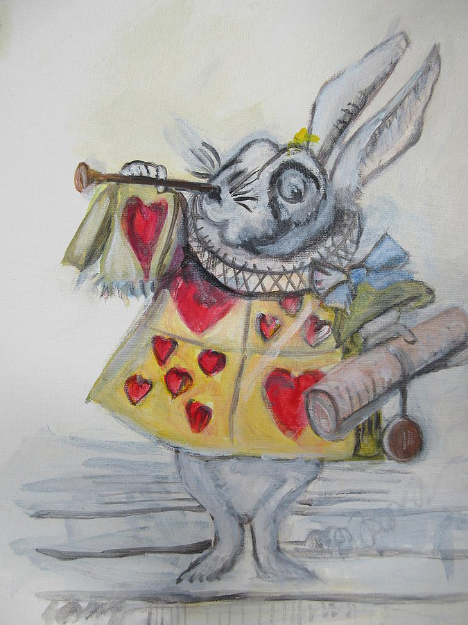White Rabbit Painting - White Rabbit by Denice Palanuk Wilson