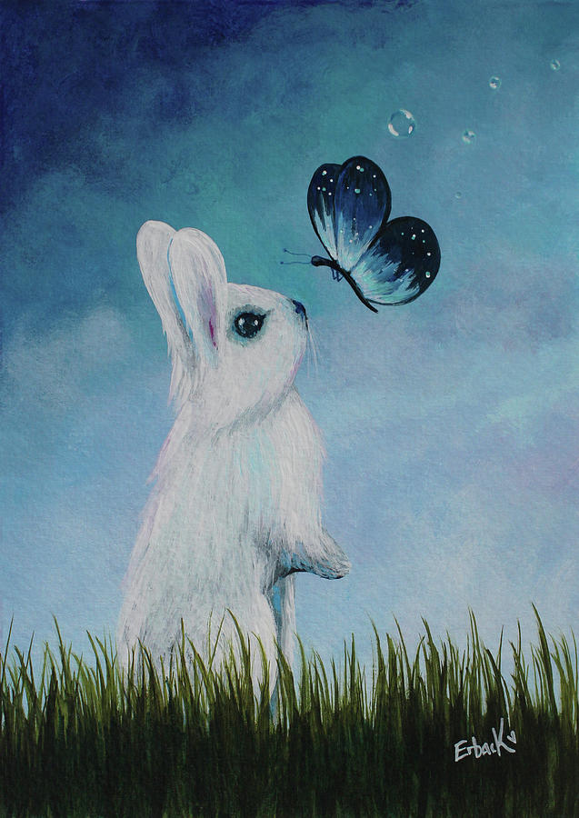 White Rabbit With Butterfly Paintings by Erback Art