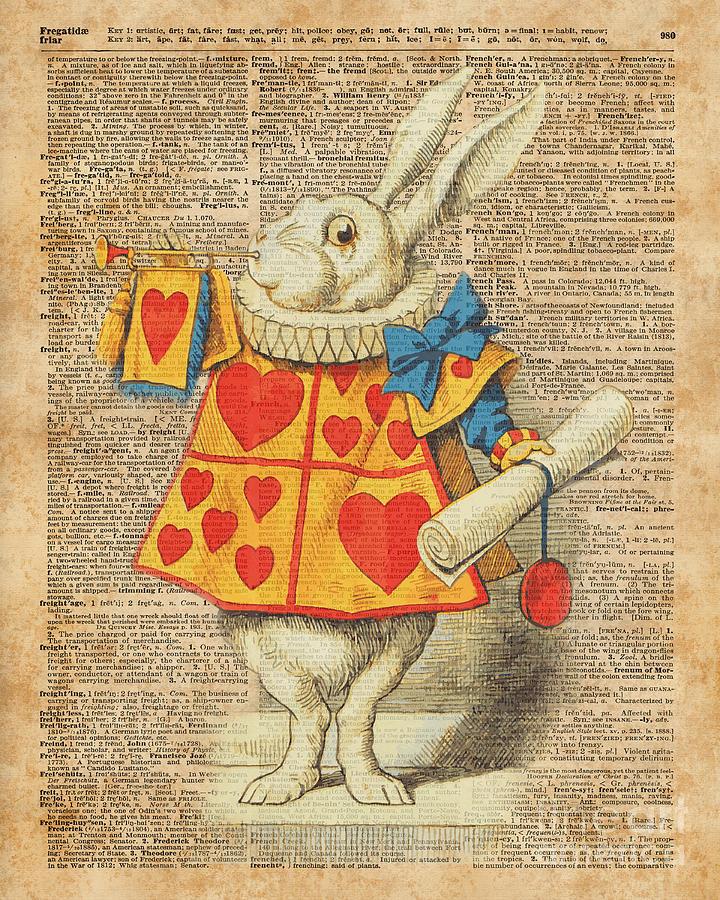 white rabbit with trumpet alice in wonderland vintage