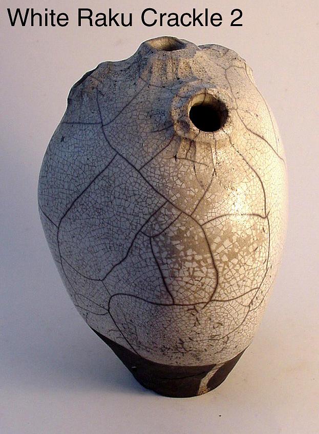 Raku Sculpture - White Raku Crackle 2 by Skip Bleecker