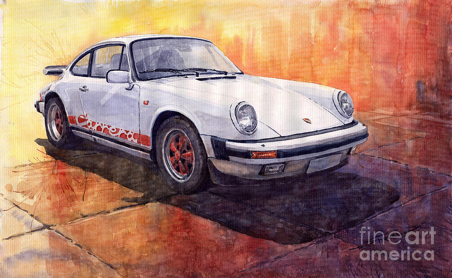 White Red Legend Porsche 911 Carrera Painting By Yuriy