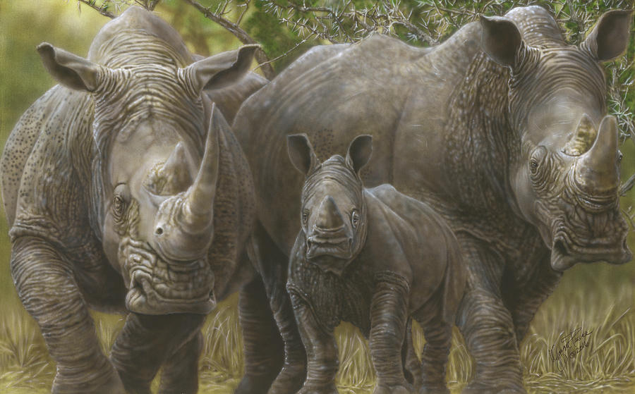 White Rhino Family - The Face That Only A Mother Could Love Painting by Wayne Pruse