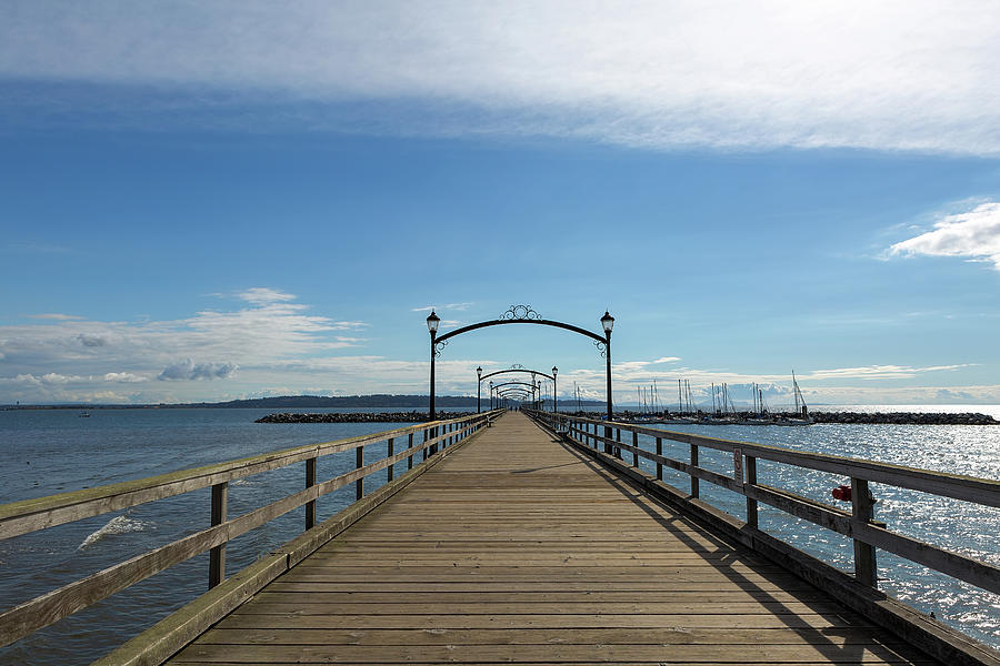 White Rock Photograph - White Rock Pier Moorage in BC Canada by David Gn