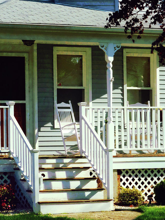 Porch Photograph - White Rocking Chairs by Susan Savad