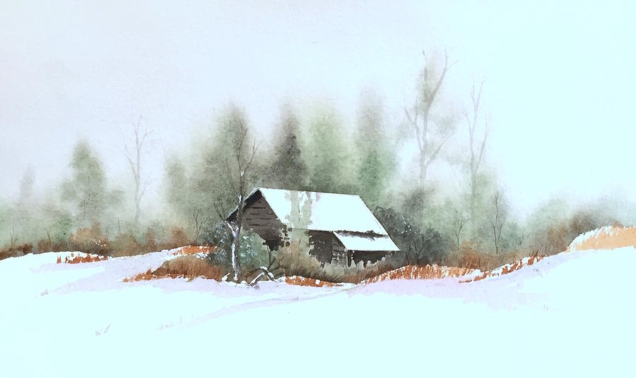 Winter Landscape Painting - White Roof by William Renzulli