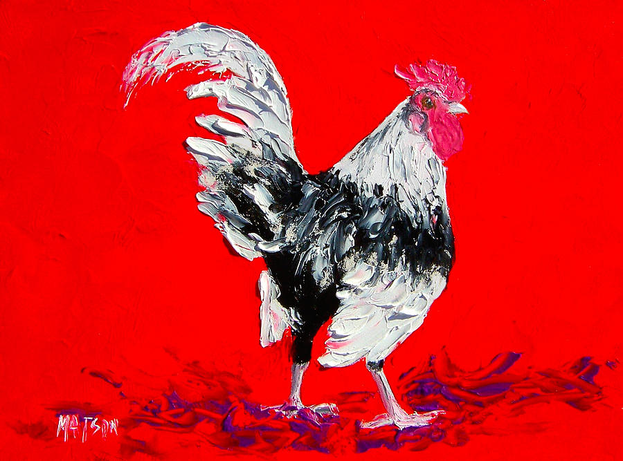 White Rooster On Red Background Painting