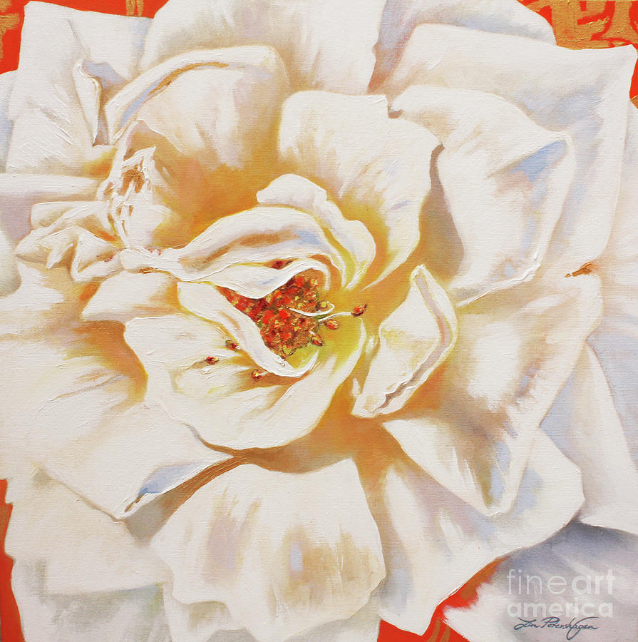White Rose Painting - White Rose by Lin Petershagen